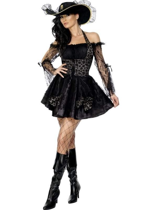 Fever Zwarte Piraat Dames Kostuum