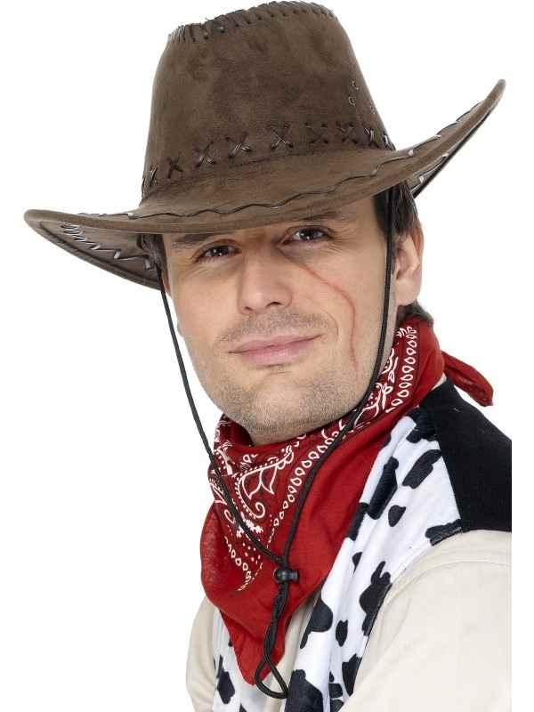 Bruine Suede Cowboyhoed