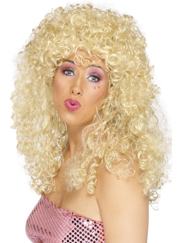 Blonde Boogie Babe '80's Pruik met Krullen