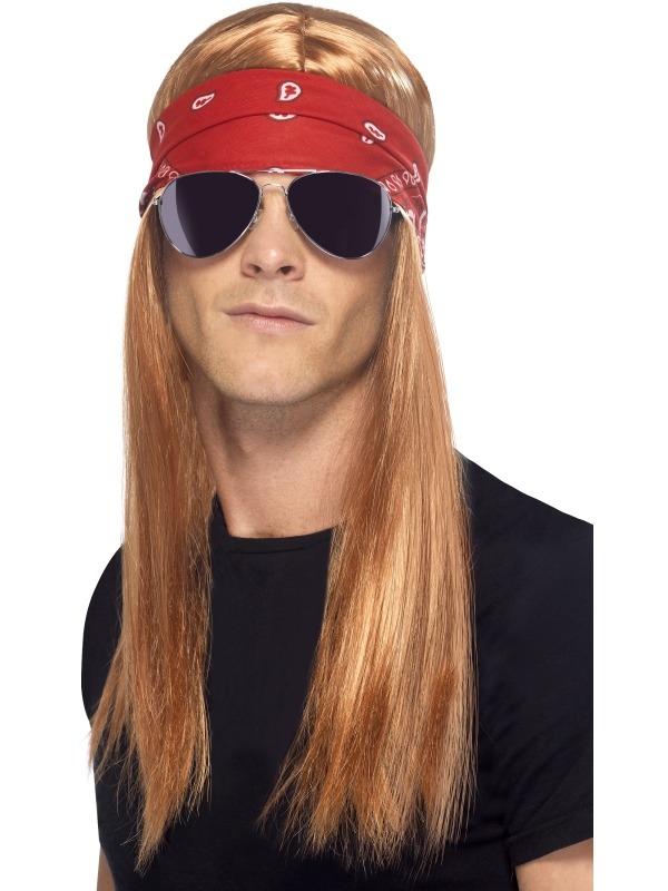 90's Rocker Pruik Bril Verkleedset
