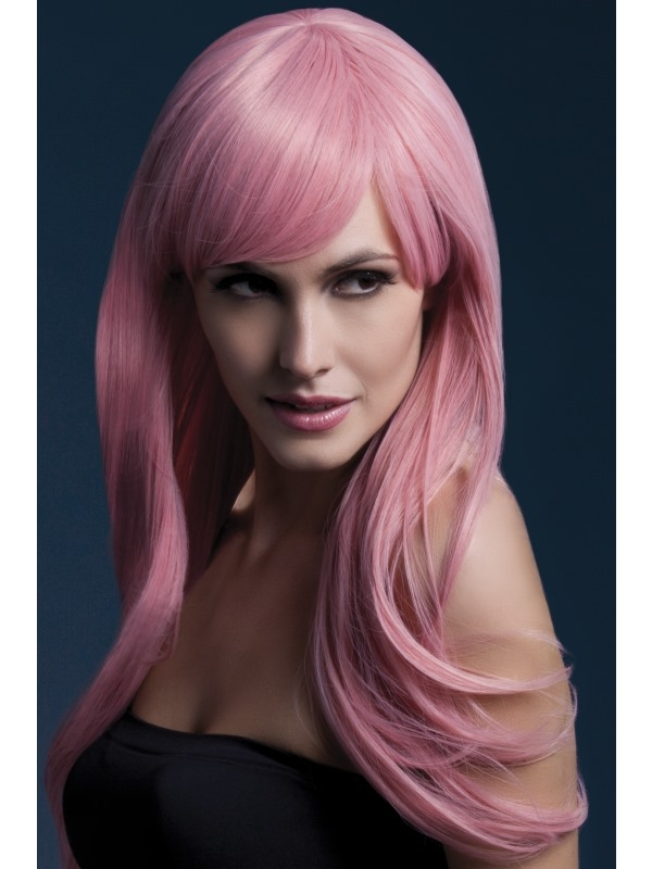 Fever Sienna Pruik Pastel Roze 66cm