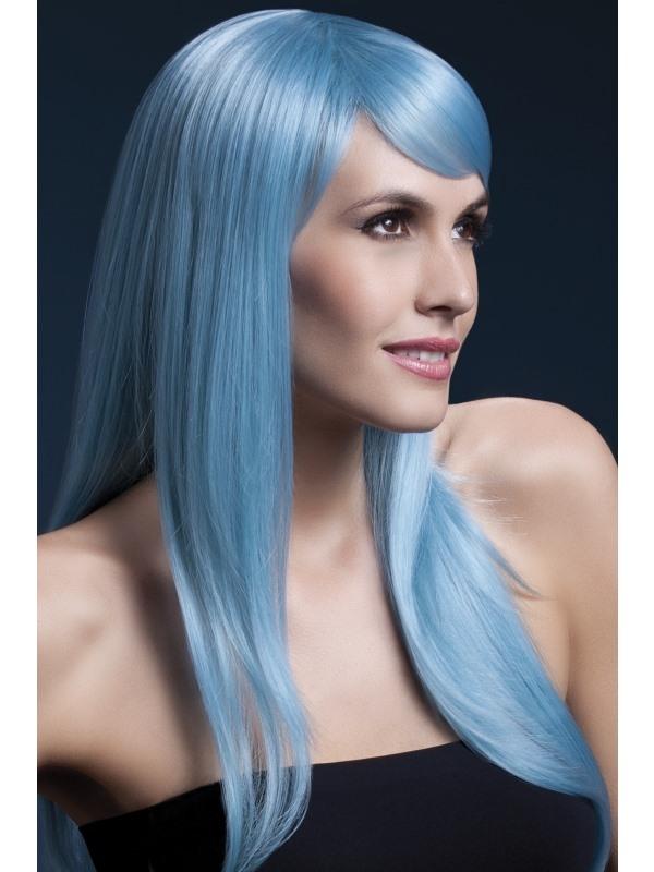 Fever Sienna Pruik Pastel Blauw 66cm