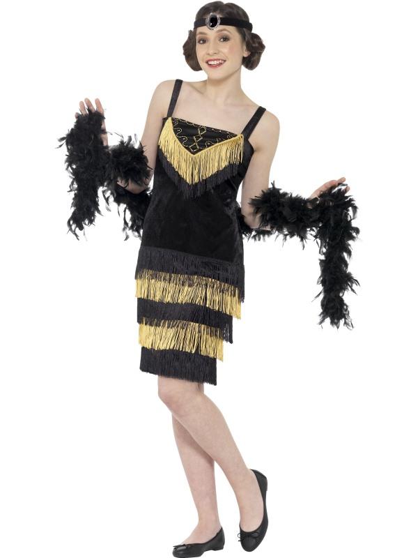 Zwart Gouden Flapper 1920's Jurk met Franjes