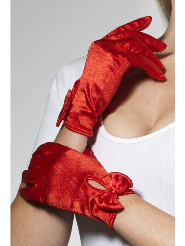 Korte Rode Glimmende Handschoenen met Strik