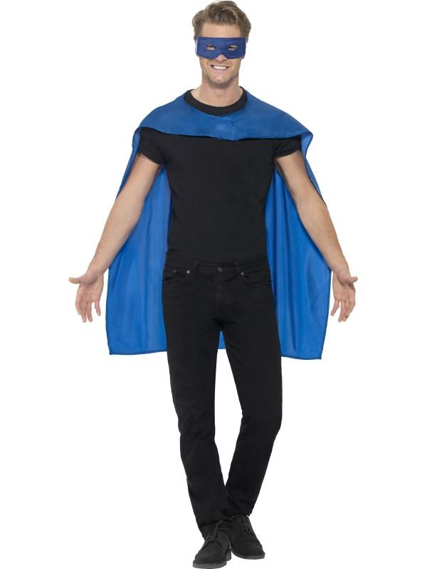 Blauwe Cape met Oogmasker Superheld