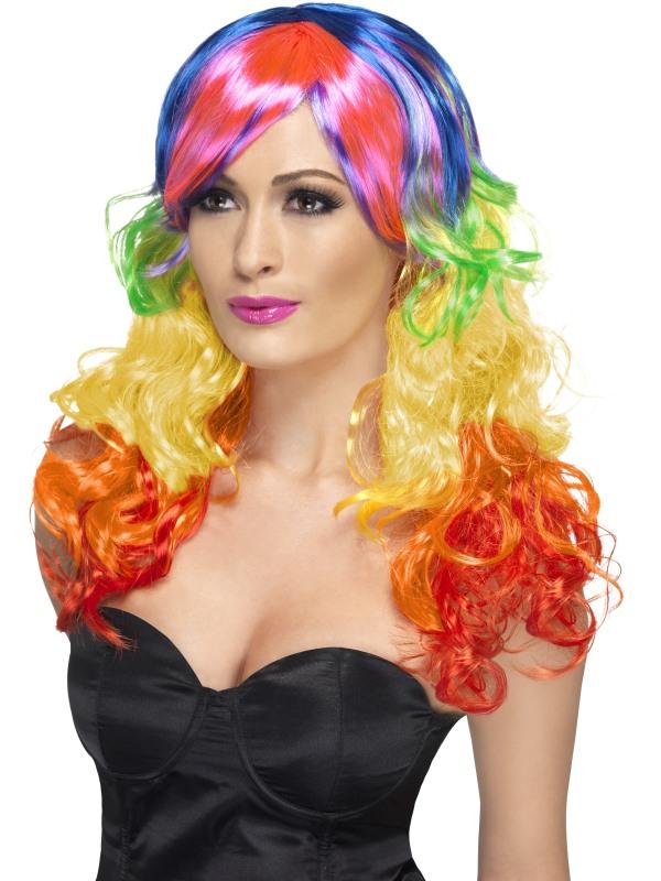 Rainbow Regenboog Pruik met Pony