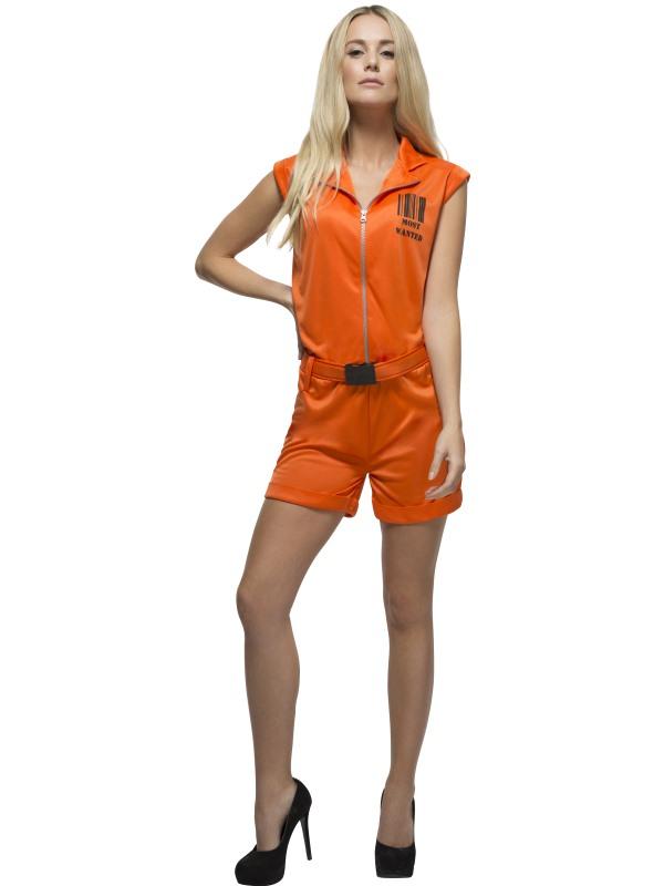 Fever Convict Gevangenen Boef Kostuum