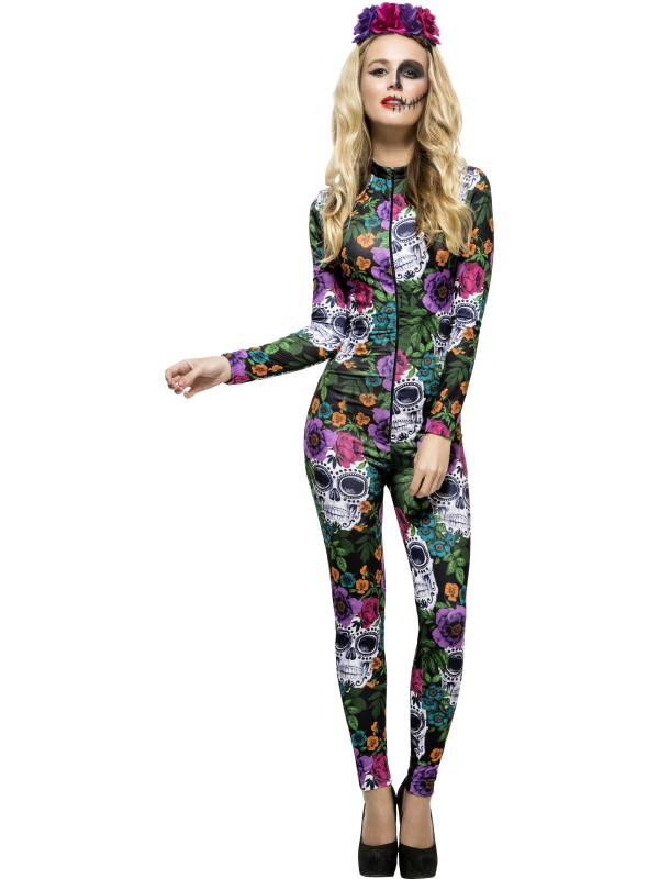 Fever Day of the Dead Gekleurde Catsuit