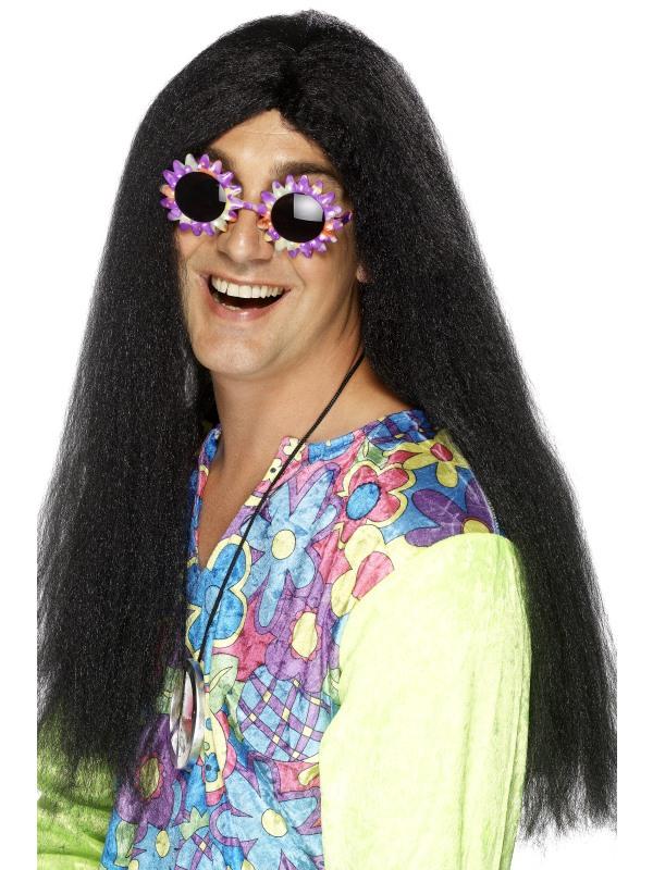 Hippie Zwarte Lange Pruik