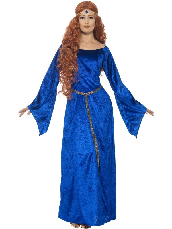Medieval Maid Blauwe Lange Jurk Verkleedkleding