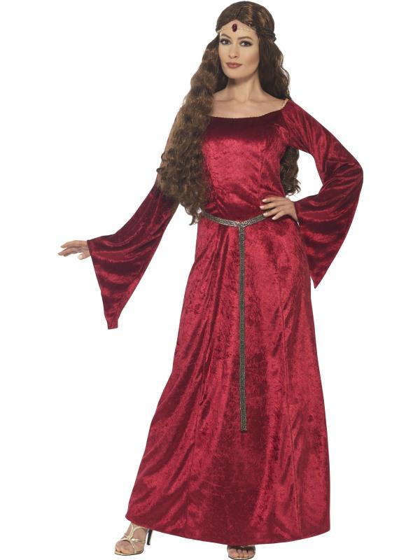 Medieval Maid Rode Lange Jurk Verkleedkleding