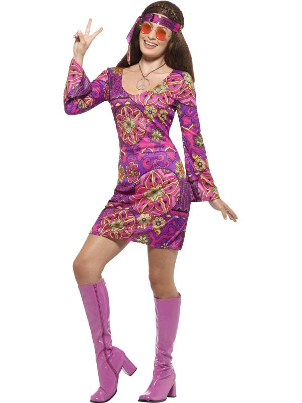 Roze Woodstock Hippie Dames Verkleedkleding