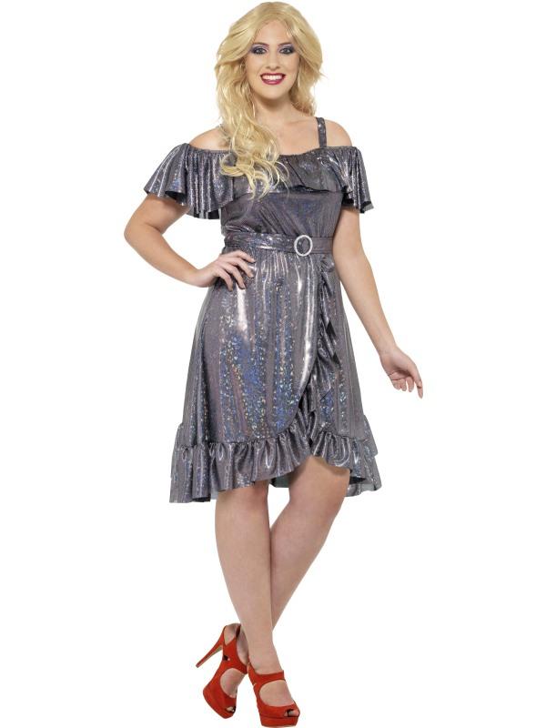 Curves 70's Disco Diva Dames Maatje Meer Kostuum