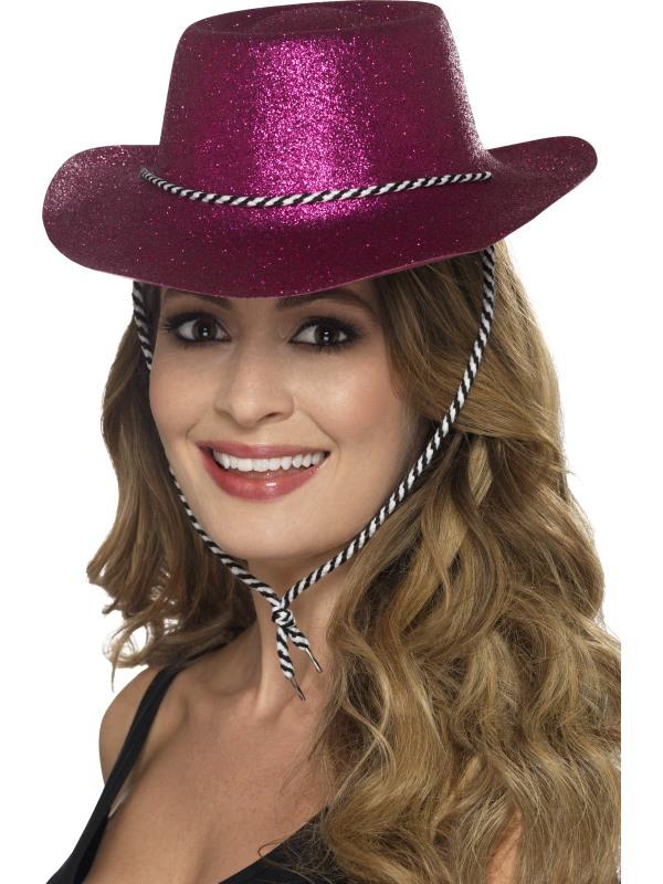 Fuchsia Roze Glitter Cowboy Cowgirl Hoed