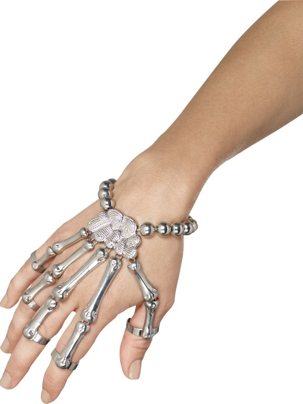 Zilverkleurige Skeleton Hand Armband