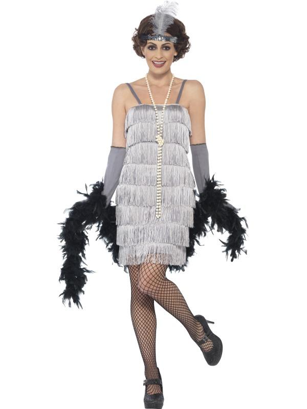 Zilveren Flapper Charlston Verkleedkleding 3-delig