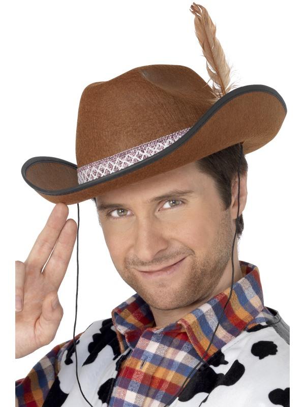 Dallas Bruine Cowboy Hoed met Veer