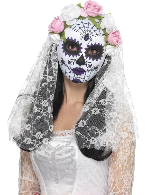 Day of the Dead Bruid Masker met Sluier