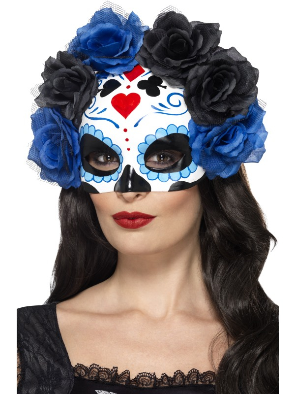 Day of the Dead Wit Blauw Oogmasker met Rozen