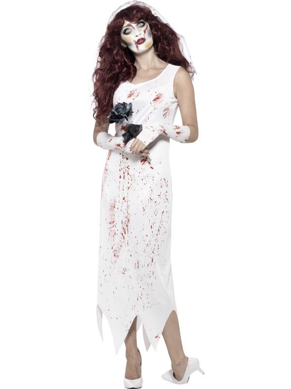 Witte Zombie Bruid Horror Kostuum