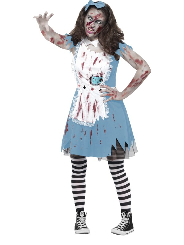 Zombie Alice in Wonderland Tiener Horror Kostuum