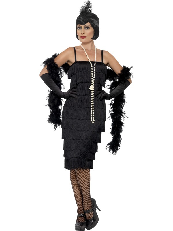 Zwarte Flapper Charlston Verkleedkleding 3-delig