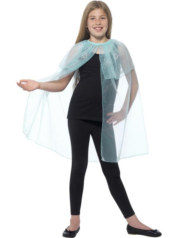 Frozen cape met zilveren sneeuwvlokken