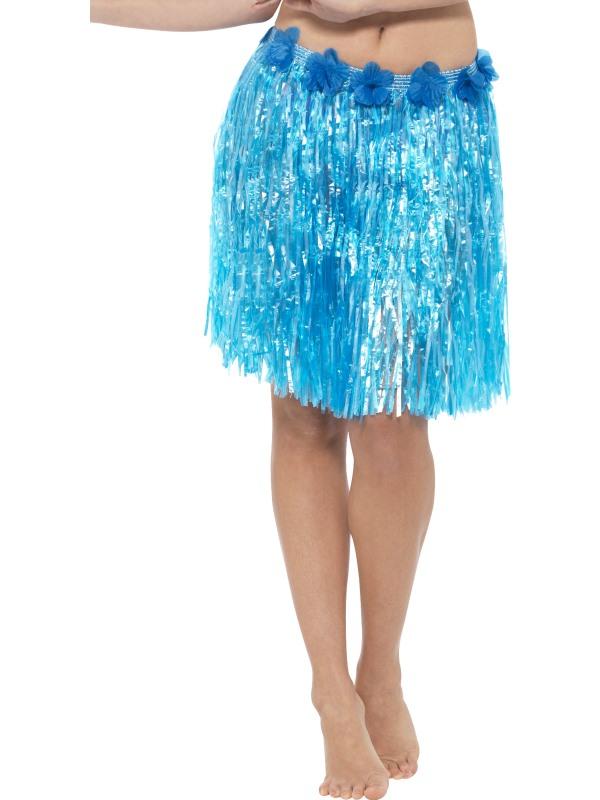 Hawaii Hula Skirt met Bloemen Blauw