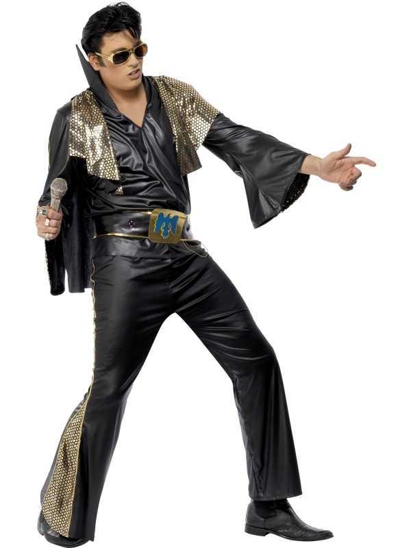 Zwart Elvis Heren Kostuum