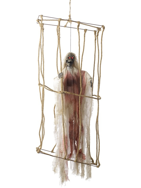 Animated Hanging Caged Skeleton Decoration