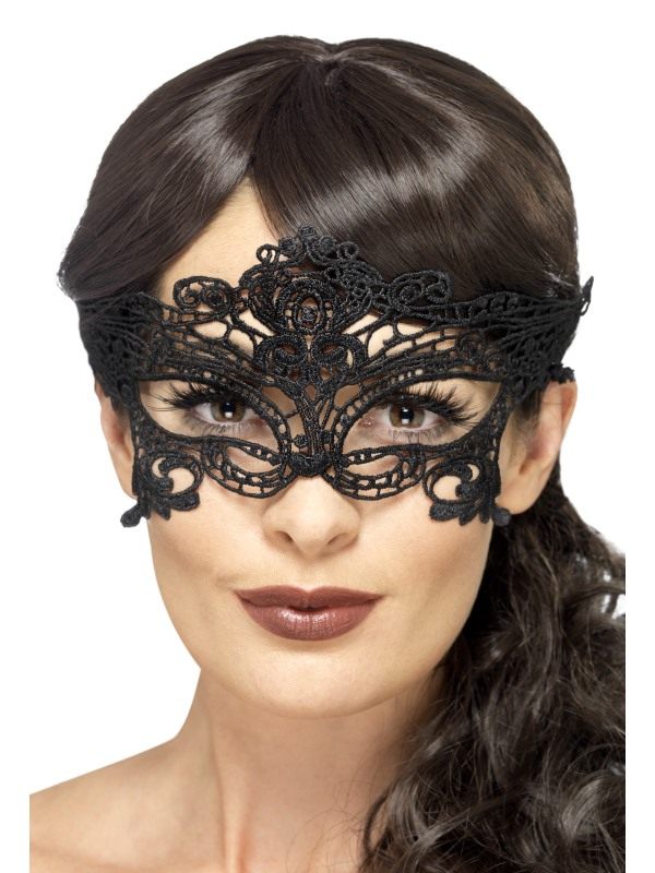 Embroidered Lace Filigree Heart Eyemask Zwart