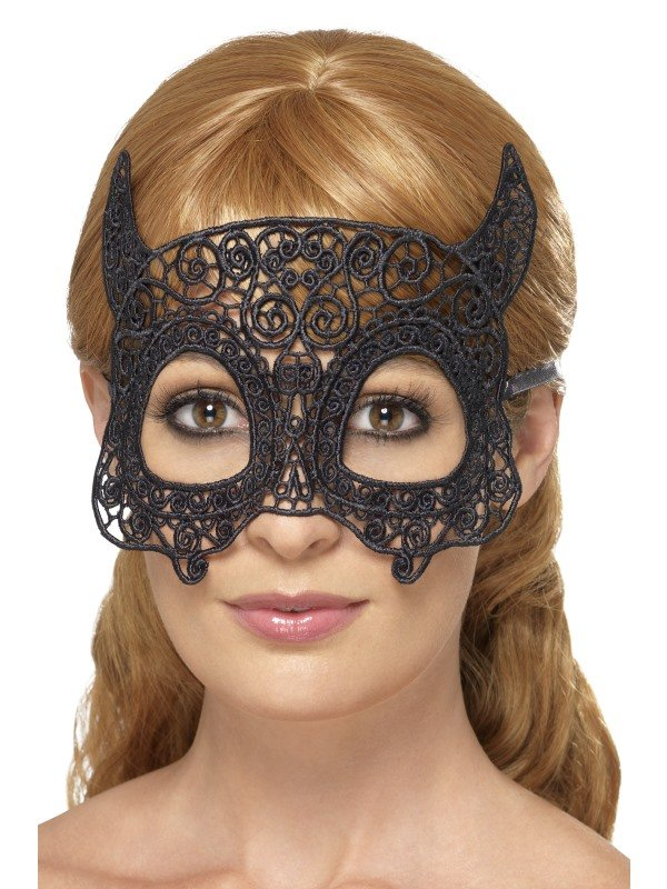 Embroidered Lace Filigree Devil Eyemask