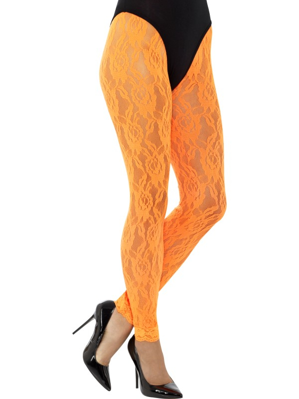 80s Lace Leggings Neon Oranje