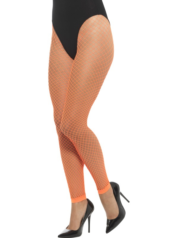 Footless Net Tights Neon Oranje