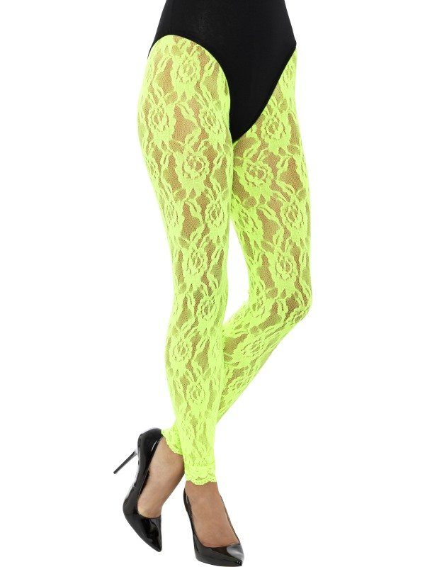 80s Lace Leggings Neon Groen