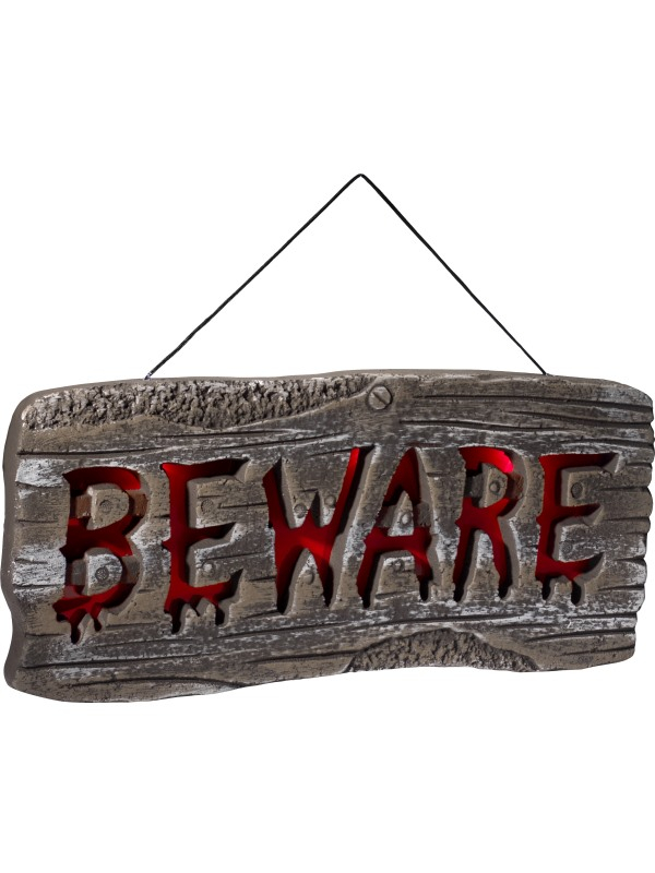 Light Up Hanging Beware Sign