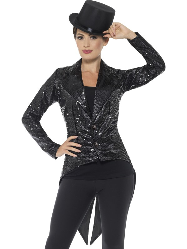Sequin Tailcoat Jacket Dames Zwart