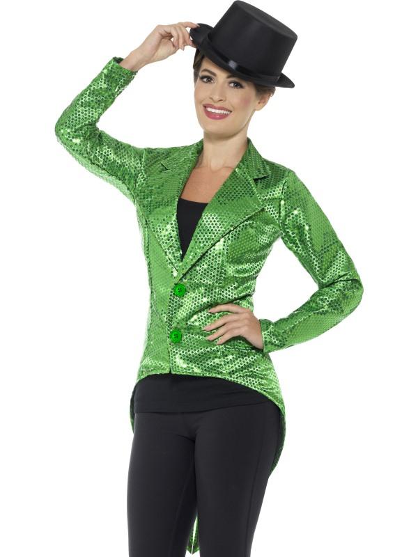 Sequin Tailcoat Jacket Dames Groen