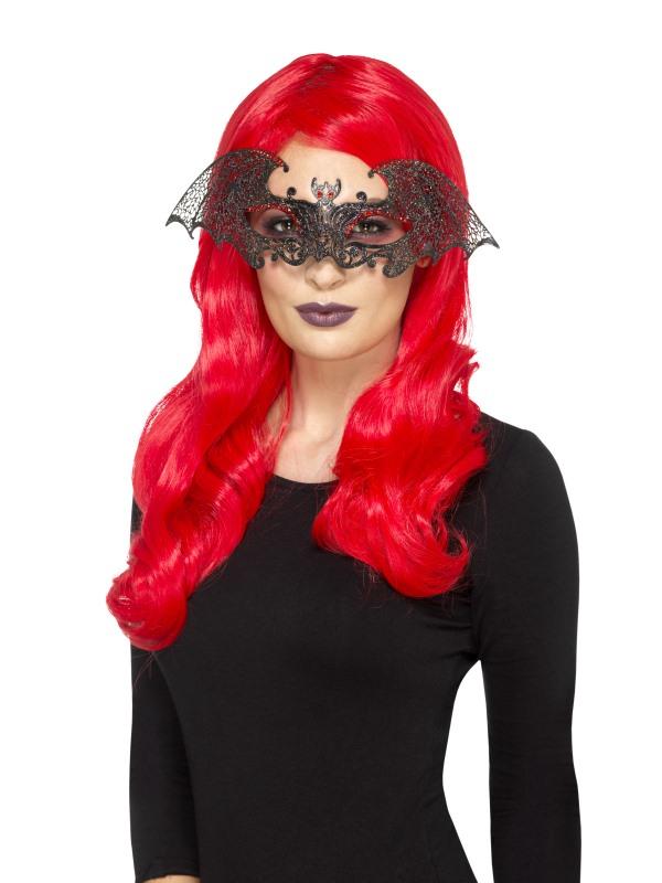 Metal Filigree Bat Eyemask Zwart