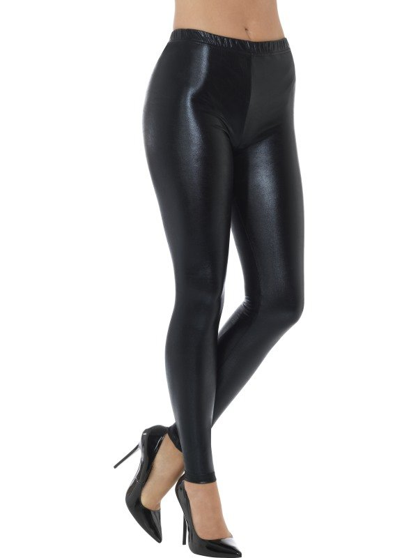 80s Metallic Disco Legging Zwart