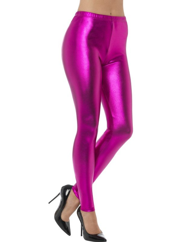 80s Metallic Disco Legging Roze