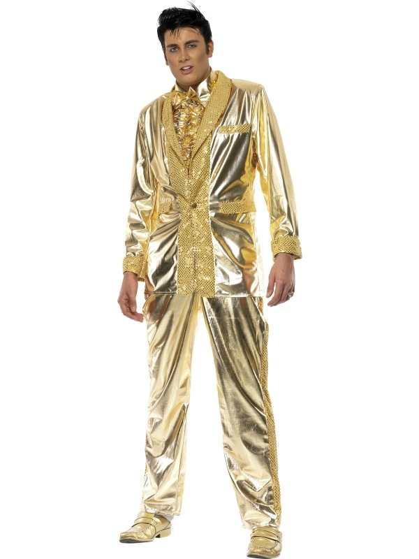 Gouden Elvis Lamé 70's Heren Kostuum