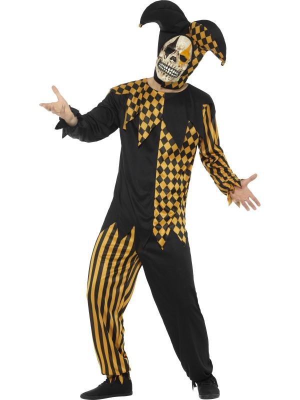Evil Court Jester Kostuum Zwart/Goud