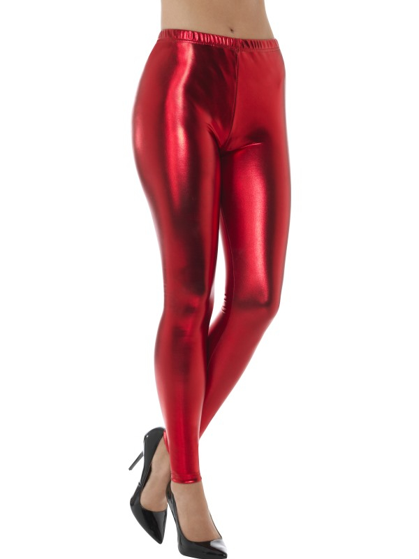 80s Metallic Disco Legging Rood