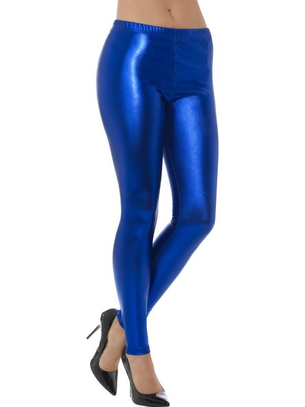 80s Metallic Disco Legging Blauw