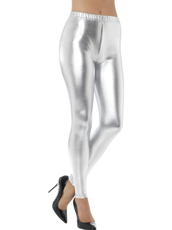 80s Metallic Disco Legging Zilver