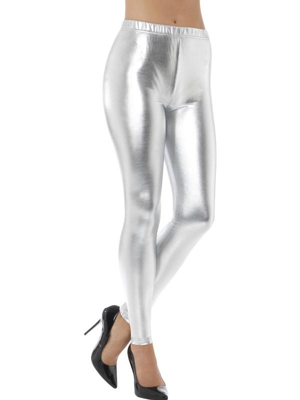 80s Metallic Disco Legging Zilver