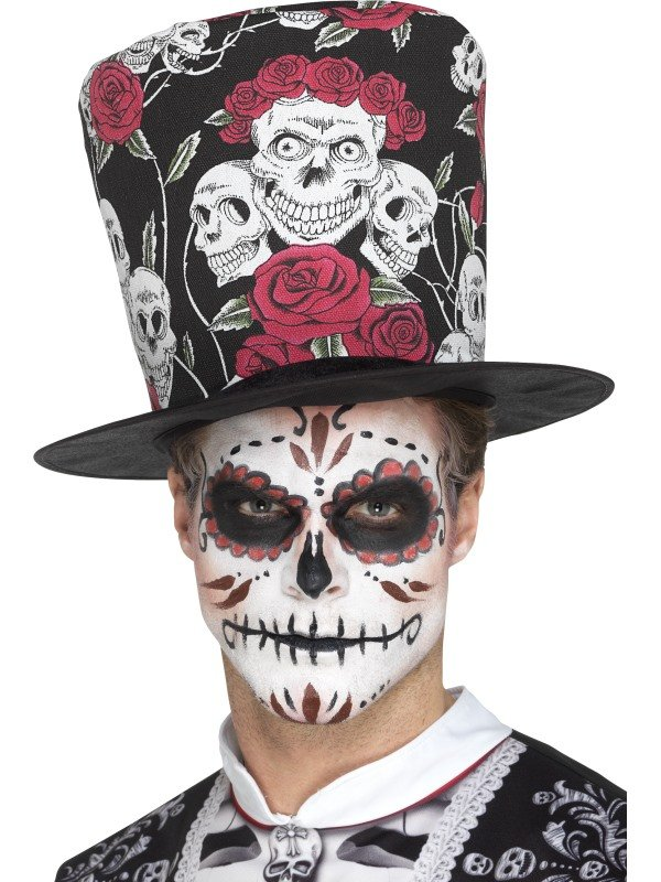 Day of the Dead Skull & Rose Top Hoed