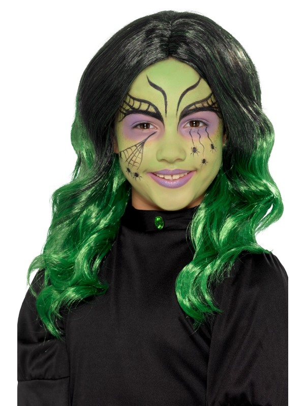 Kids Witch Pruik Groen Ombre