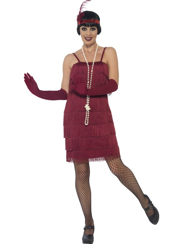 Flapper Dress Burgundy Rood